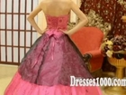 Sexy Pink and Black Quicneanera Ball Gown with Appliques and Hand Made Flowers